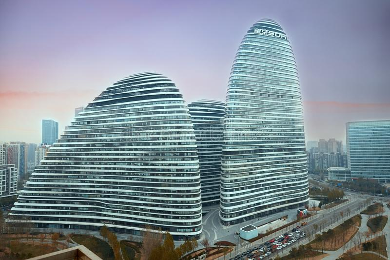 Wangjing SOHO, Beijing landmark. Futuristic modern building, Wangjing Soho, Beijing, China royalty free stock photos