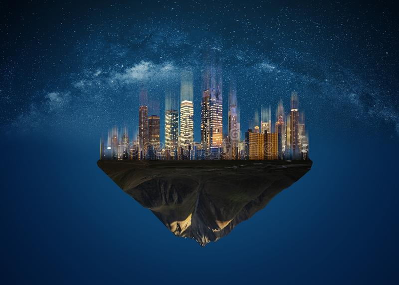 Futuristic modern buildings in the city on floating island at night royalty free illustration