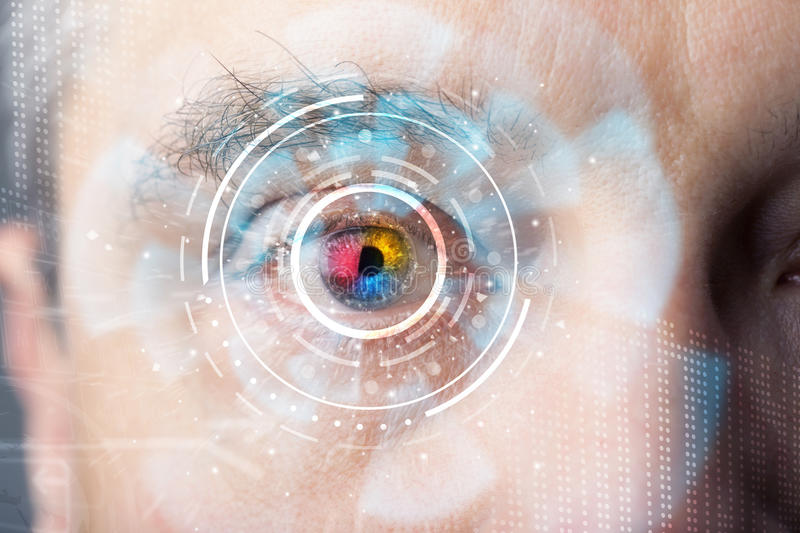 Futuristic modern cyber man with technology screen eye panel. Concept royalty free stock photo