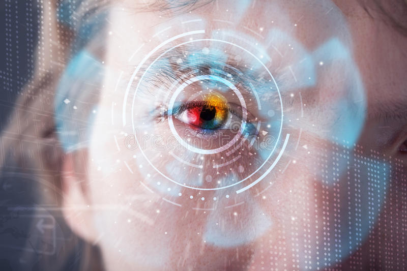 Futuristic modern cyber man with technology screen eye panel. Concept royalty free stock image
