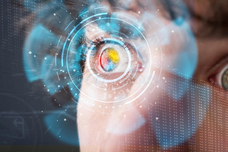 Futuristic modern cyber man with technology screen eye panel. Concept royalty free stock photography
