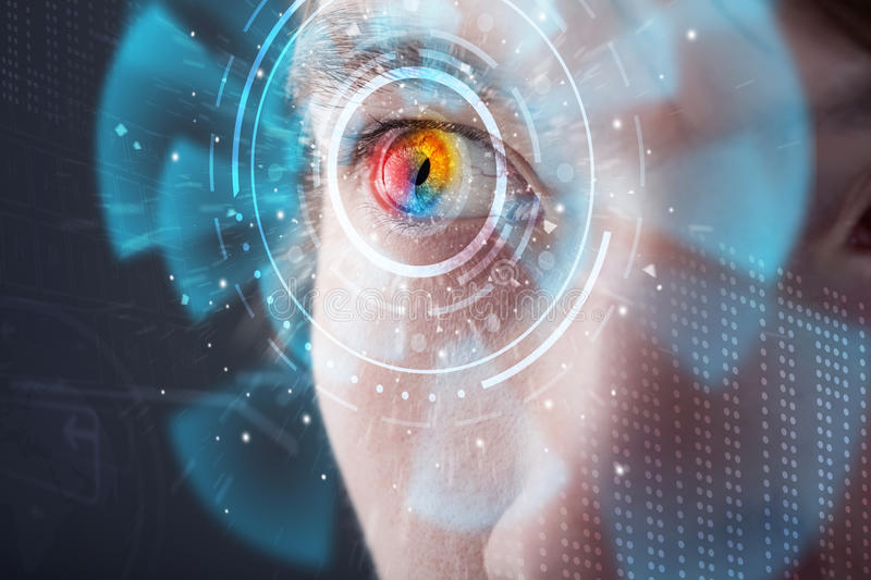 Futuristic modern cyber man with technology screen eye panel. Concept royalty free stock photos