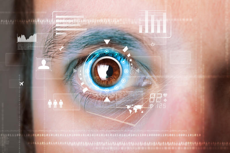 Futuristic modern cyber man with technology screen eye panel. Concept stock image