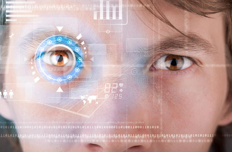 Futuristic modern cyber man with technology screen eye panel. Concept stock images