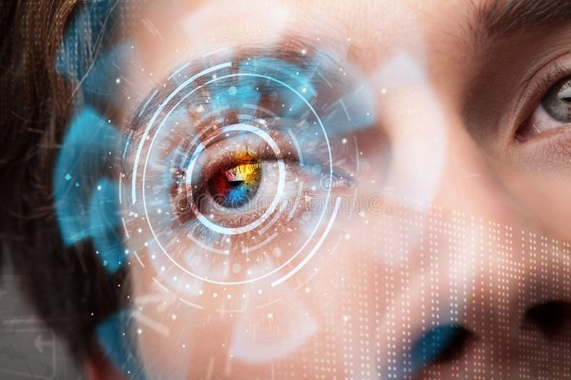 Futuristic modern cyber man with technology screen eye panel. Concept stock photo