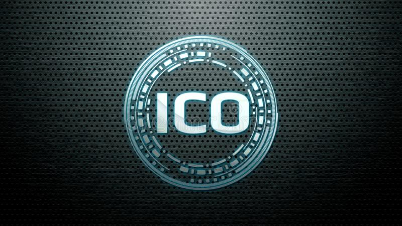 Futuristic modern glowing Initial Coin Offering ICO led logo hologram hover over metallic steel background. stock images