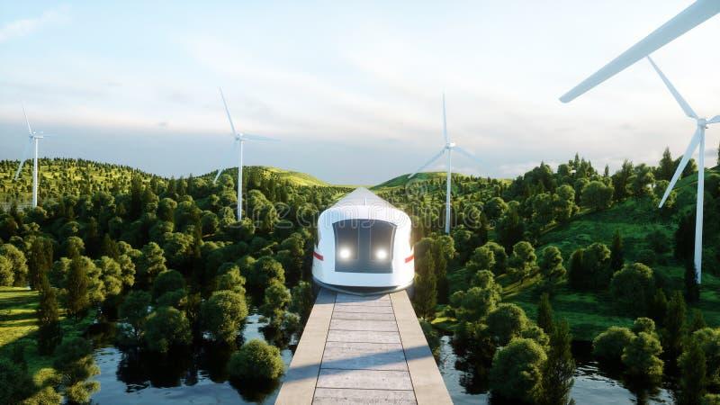 Futuristic, modern Maglev train passing on mono rail. Ecological future concept. Aerial nature view. 3d rendering. Futuristic, modern Maglev train passing on stock illustration