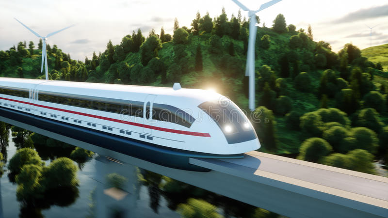 Futuristic, modern Maglev train passing on mono rail. Ecological future concept. Aerial nature view. 3d rendering. vector illustration