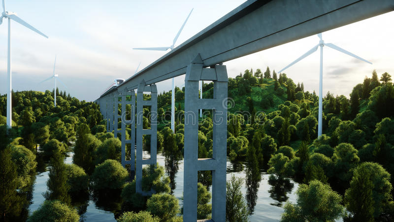 Futuristic, modern Maglev train passing on mono rail. Ecological future concept. Aerial nature view. 3d rendering. Futuristic, modern Maglev train passing on vector illustration