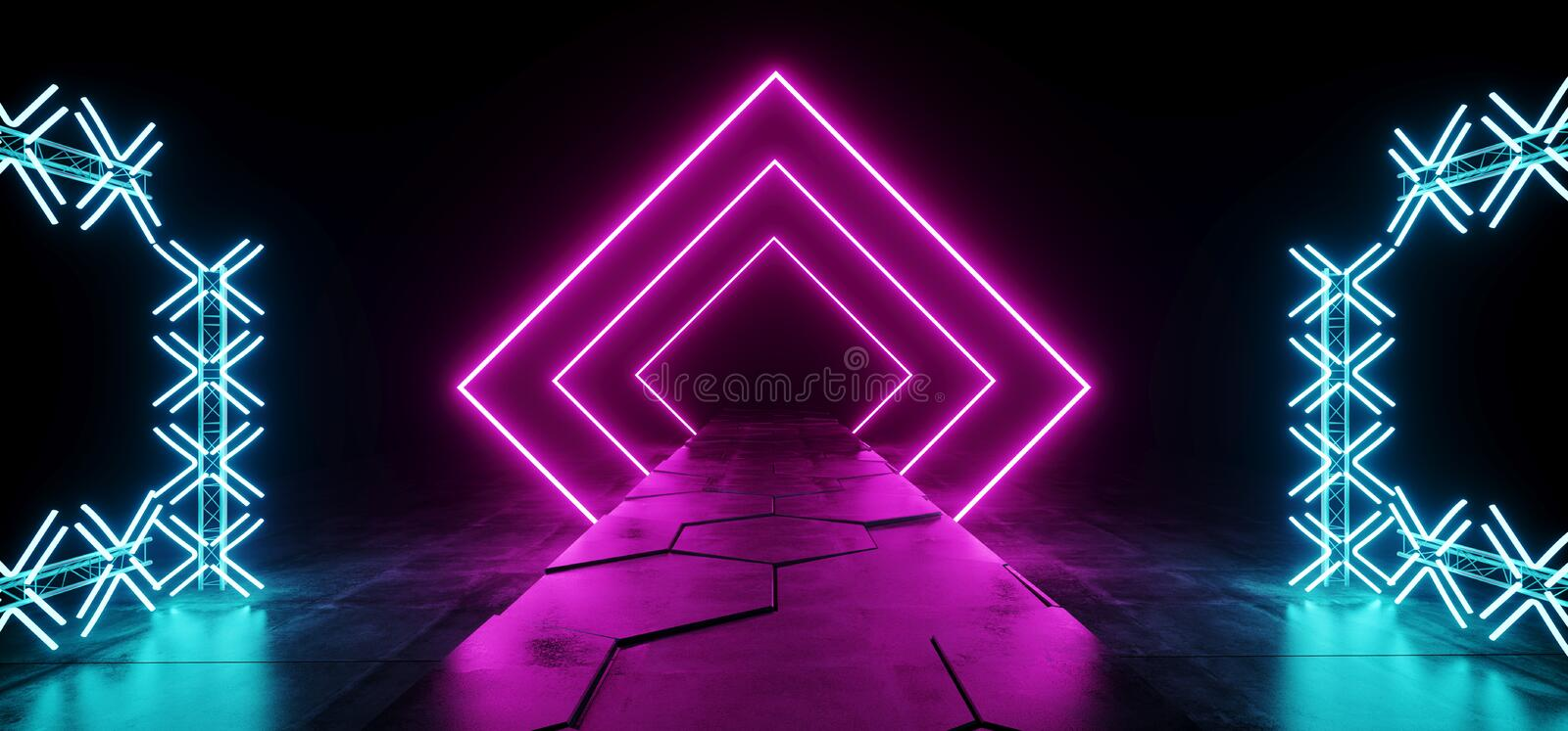 Futuristic Modern Sci Fi Club Dance Stage Construction Neon Glowing Rectangle Shaped Purple Pink Blue Laser Stage Lights On Dark royalty free illustration