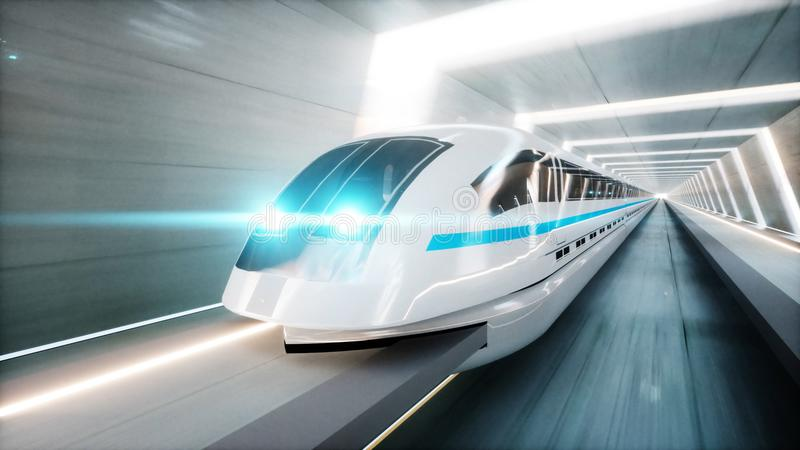 Futuristic modern train, monorail fast driving in sci fi tunnel, coridor. Concept of future. 3d rendering. Futuristic modern train, monorail fast driving in sci vector illustration