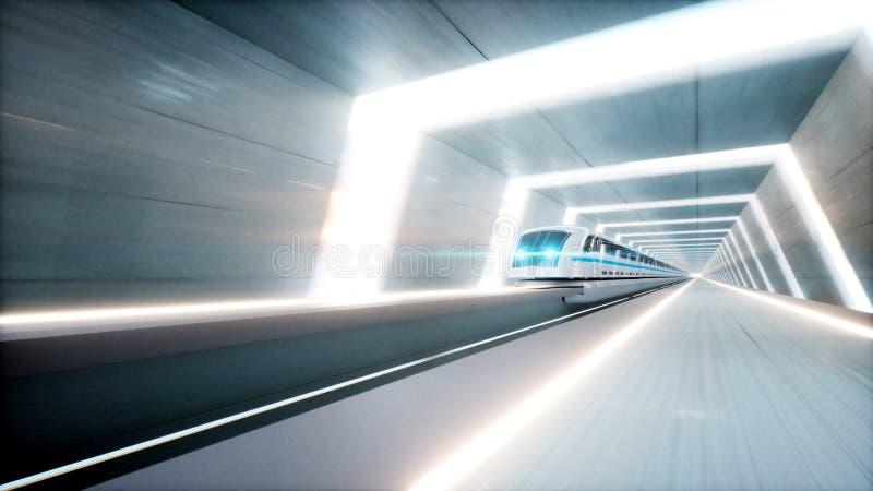 Futuristic modern train, monorail fast driving in sci fi tunnel, coridor. Concept of future. 3d rendering. Futuristic modern train, monorail fast driving in sci stock illustration