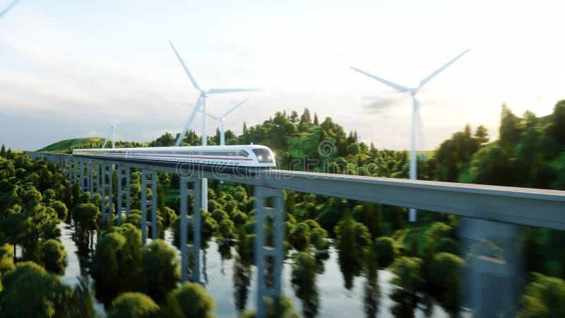 Futuristic, modern train passing on mono rail. Ecological future concept. Aerial nature view. 3d rendering. Futuristic, modern train passing on mono rail vector illustration