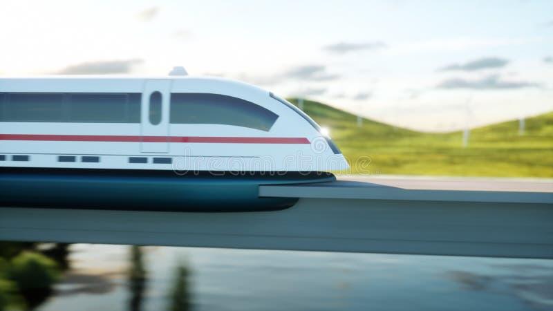 Futuristic, modern train passing on mono rail. Ecological future concept. Aerial nature view. 3d rendering. Futuristic, modern train passing on mono rail stock illustration