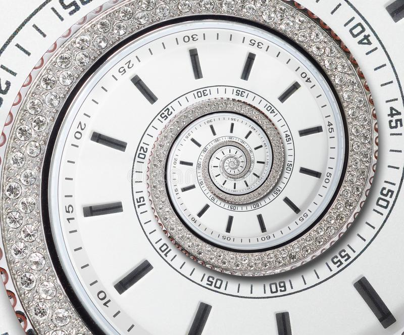 Futuristic modern white clock watch abstract fractal surreal spiral. Watch clock unusual abstract texture pattern fractal backdrop. Futuristic modern white clock stock image