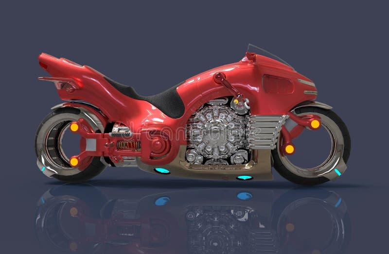 futuristic motorcykel illustration 3d royaltyfri illustrationer