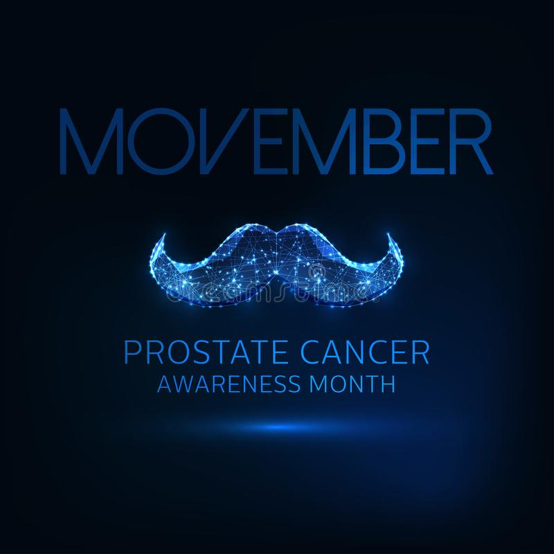 Futuristic Movember -prostate cancer awareness month web banner with glowing low poly mustaches. Futuristic Movember -prostate cancer awareness month web banner stock illustration
