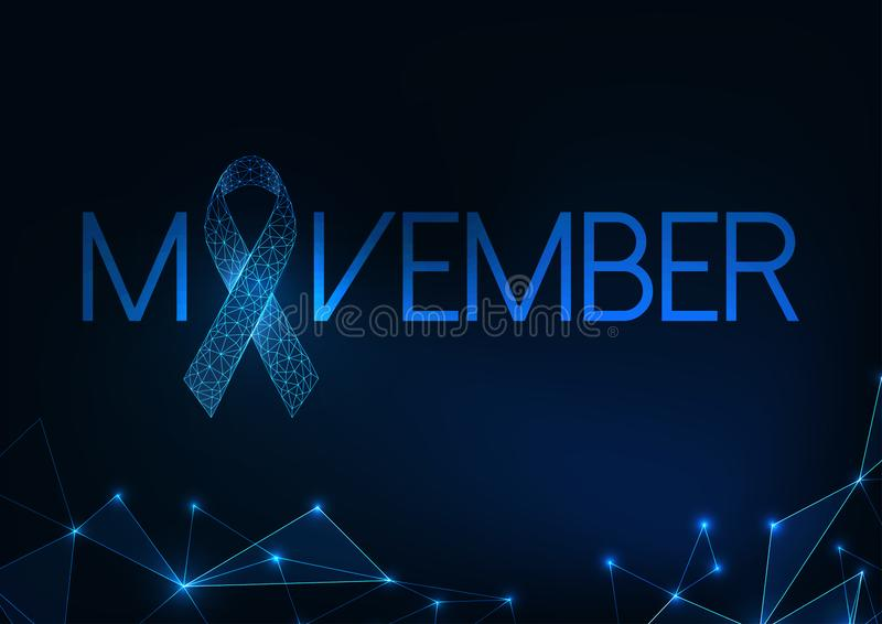 Futuristic Movember -prostate cancer awareness month web banner with glowing low polygonal ribbon. stock illustration
