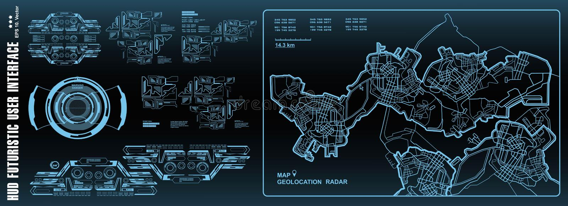 Futuristic navigate mapping technology, dashboard GPS map. HUD user interface, virtual reality technology screen. Futuristic navigate mapping technology vector illustration