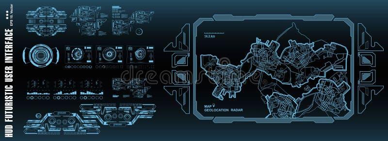 Futuristic navigate mapping technology, dashboard GPS map. HUD user interface, virtual reality technology screen. Futuristic navigate mapping technology stock illustration