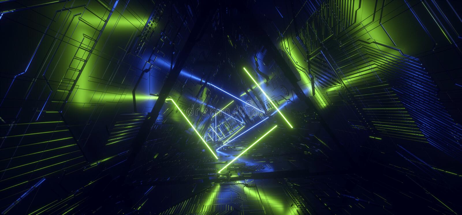 Futuristic Neon Light Blue Green Hyper Pentagonal Triangle Detailed Sci Fi Alien Spaceship Reflective Metal Corridor Tunnel Gate. Empty Glowing Background stock illustration