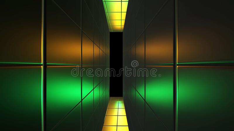 Futuristic neon yellow, green tunnel. Abstract creative 3D rendering, modern  lines on walls and space way. R and alpha channel en. D of tunnel vector illustration