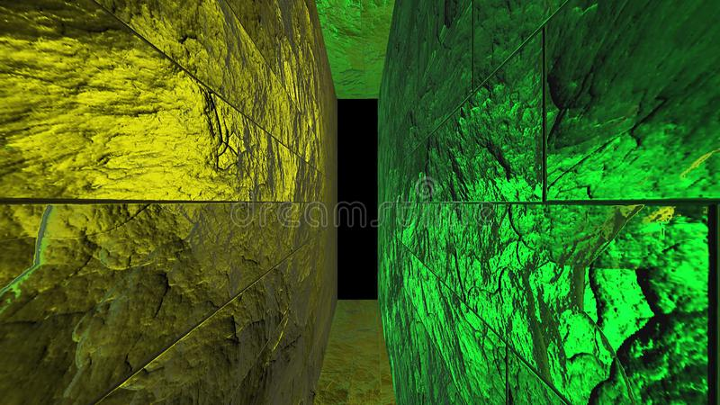 Futuristic neon yellow, green tunnel. Abstract creative 3D rendering, modern  lines on walls and space way. R and alpha channel en. D of tunnel royalty free illustration