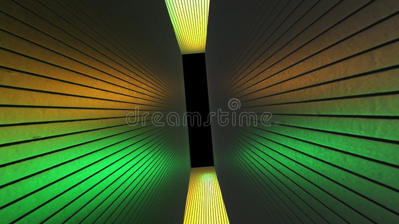 Futuristic neon yellow, green tunnel. Abstract creative 3D rendering, modern  lines on walls and space way. R and alpha channel en. D of tunnel stock illustration