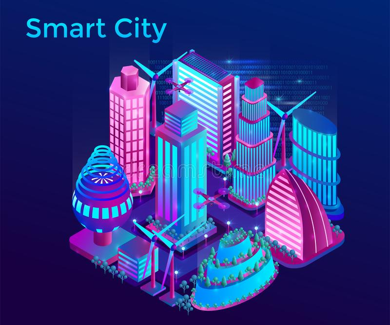 Futuristic night city is illuminated by neon lights in isometric style vector illustration