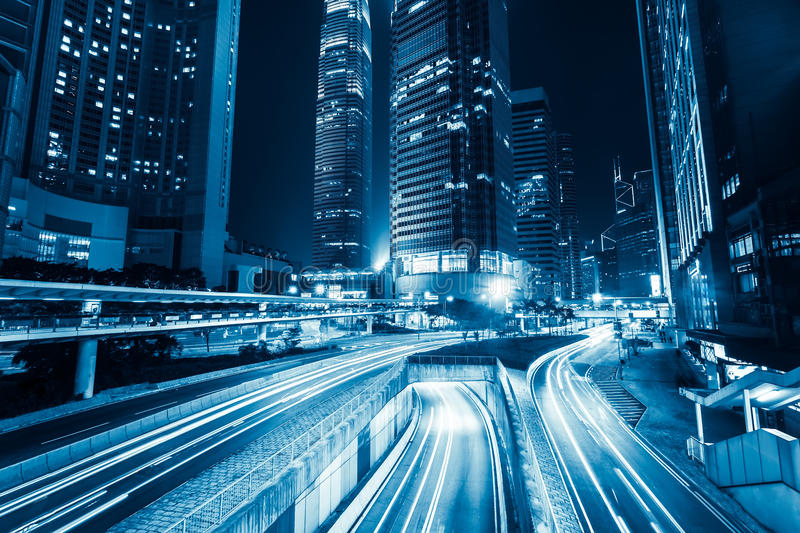 Futuristic night city traffic. Hong Kong stock image