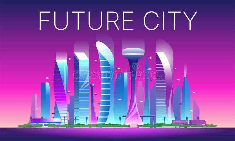 Futuristic night cityscape 02 vector illustration