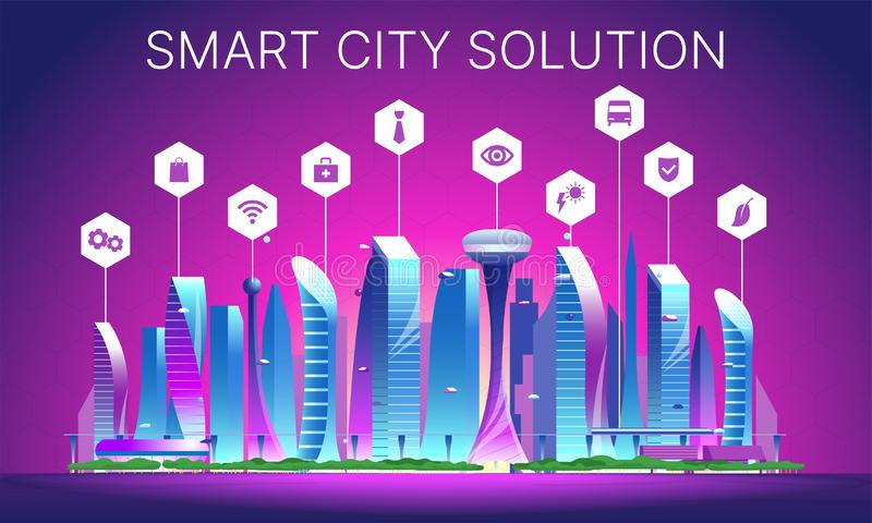 Futuristic night cityscape 03. Smart city solution. Futuristic night cityscape. Vector flat illustration of city with buildings, cars and trees architecture big royalty free stock photography