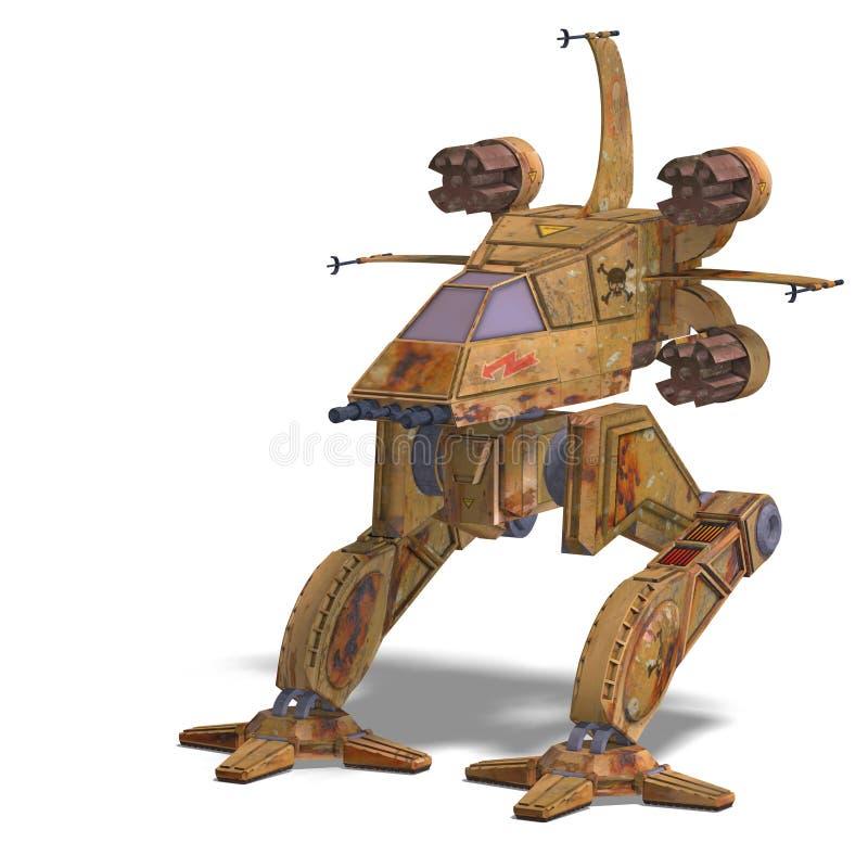 futuristic omformning för robotscifispaceship stock illustrationer