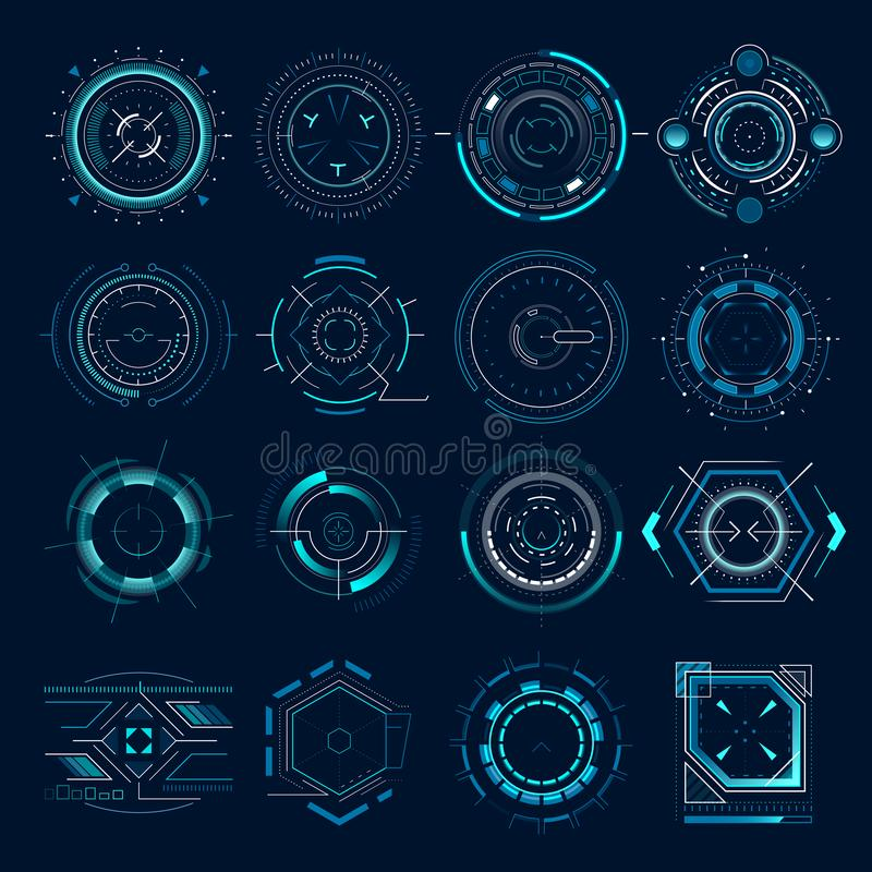 Futuristic optical aim. Military collimator sight, gun targets focus range indication. Sniper weapon target hud aiming royalty free illustration