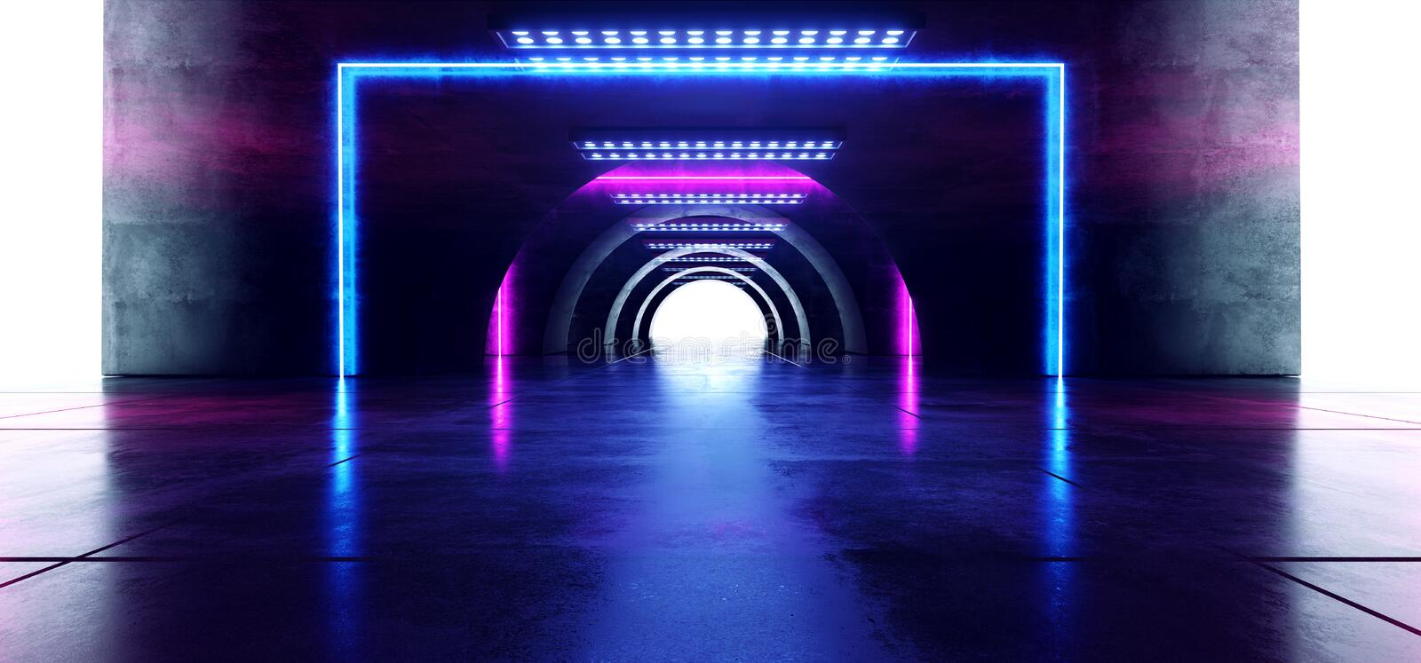 Futuristic Oval Circle Neon Glowing Purple Blue Rectangle Shaped Laser Beam Lights On Concrete Grunge Floor Reflective Tunnel. Corridor Dark Entrance Stage 3D stock illustration