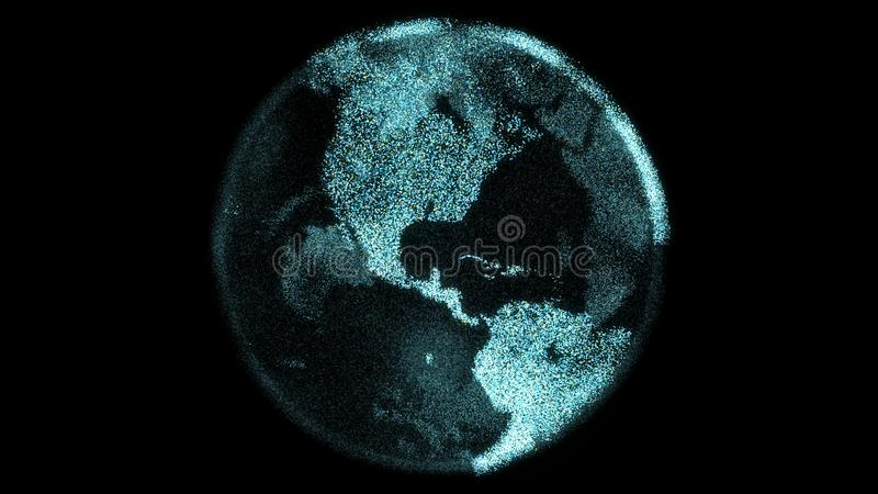 Futuristic particle digital earth spins with bright continents made from pixels royalty free illustration