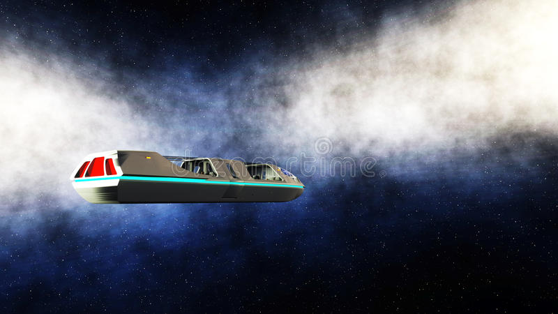 Futuristic passenger bus flying in space. Transport of the future. 3d rendering. royalty free illustration