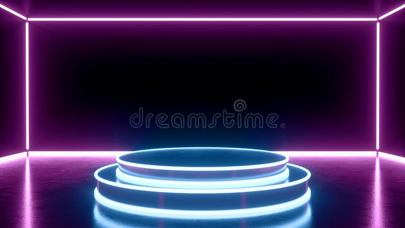 Futuristic pedestal, abstract blue and purple neon light shapes, glowing on black background royalty free illustration