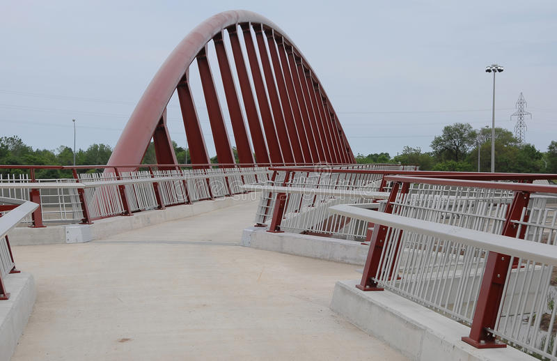 Futuristic pedestrian bridge. stock image