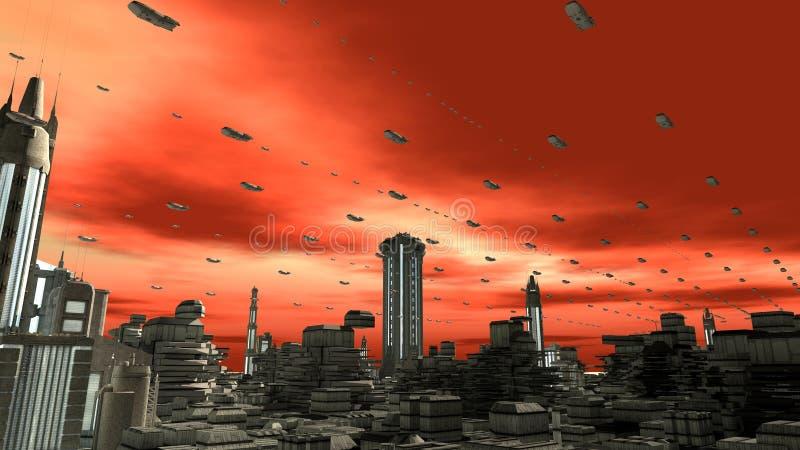 Futuristic planet royalty free illustration