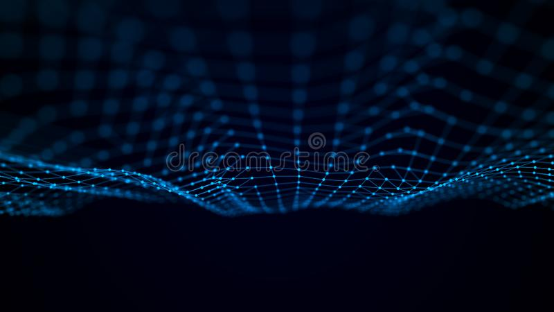 Futuristic point wave. Abstract background with a dynamic wave. Data technology illustration stock illustration