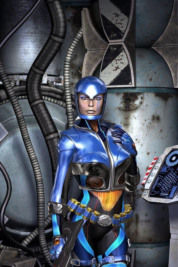 Futuristic police girl stock illustration