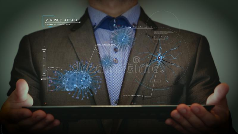 Futuristic portrait of a businessman uses a career chart, a hologram, a diagram, in a suit, makes a finger click. Concept: future, stock photography