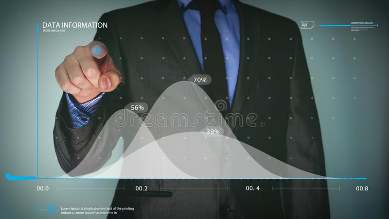 Futuristic portrait of a businessman uses a career chart, a hologram, a diagram, in a suit, makes a finger click. Concept: future, royalty free stock images