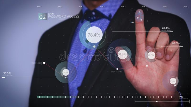 Futuristic portrait of a businessman uses a career chart, a hologram, a diagram, in a suit, makes a finger click. Concept: future, royalty free stock photography