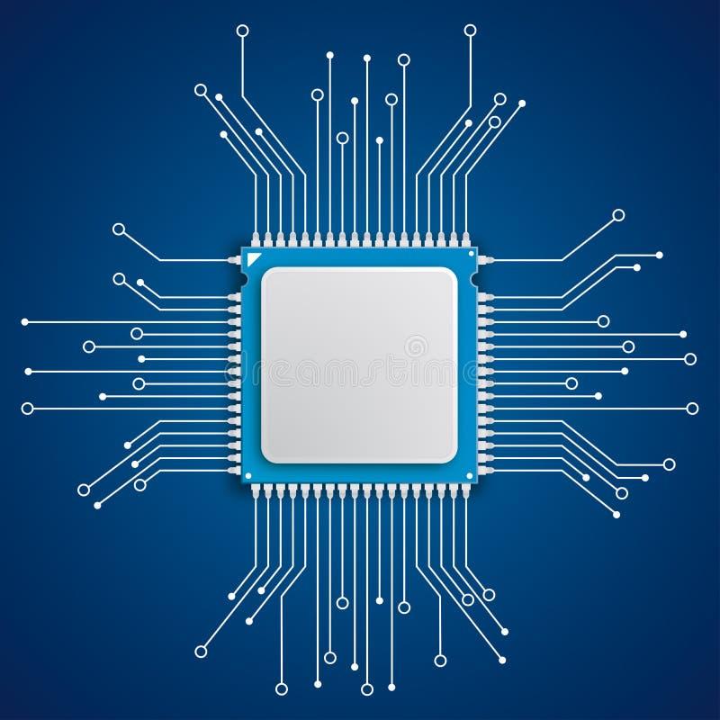 Futuristic Processor Circuit Board Blue Background. Infoggraphic with futuristic processor with electronic schematicon the blue background royalty free illustration