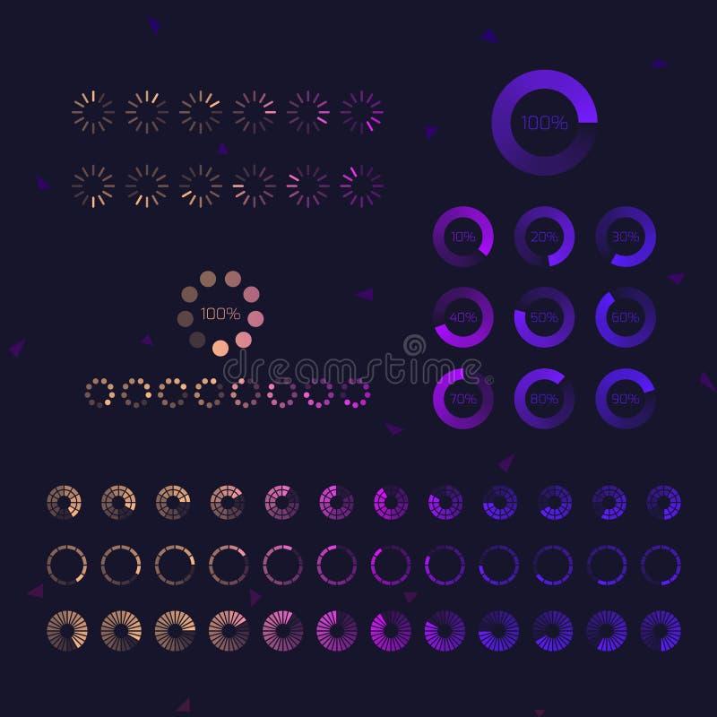 Free Futuristic Progress Loading Bar Icons. Set Of Indicators. Download Process, Web Ui Design Interface Upload. Vector Illustration Stock Photo - 158658580