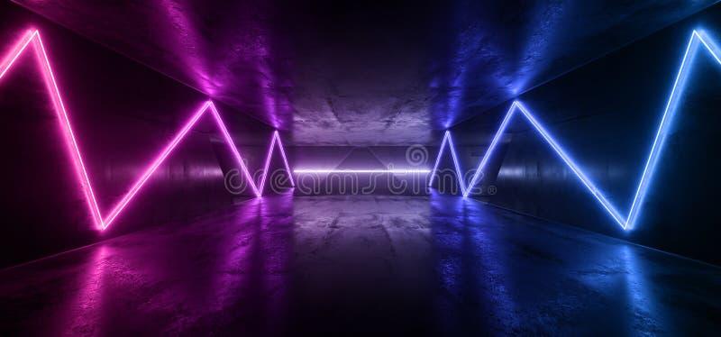 Futuristic Purple Blue Neon Alien Sci Fi Dark Empty Cement Concrete Reflective Grunge Hall Underground Laser Beam Garage Night stock images