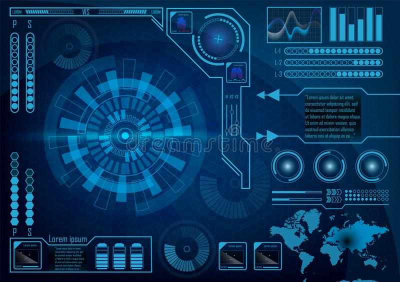 Futuristic radar screen user interface. HUD. Vector EPS 10. Futuristic radar screen user interface. HUD. Infographics futuristic blue background. GUI hologram stock illustration
