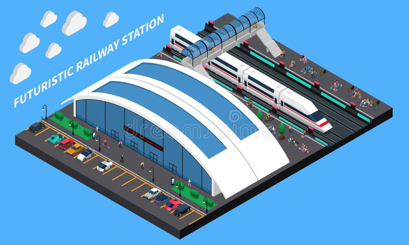 Futuristic Railway Station Isometric Composition. With spacious station speed train and elevated pedestrian crossing vector illustration royalty free illustration
